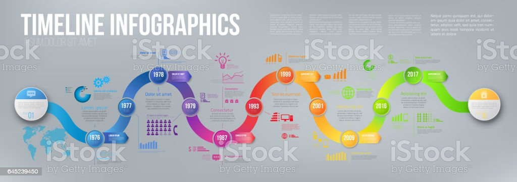 Infographics arrow timeline hystory template vector art illustration