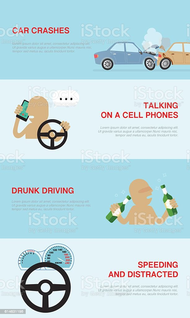 infographics banners collection with causes of car accidents ベクターアートイラスト