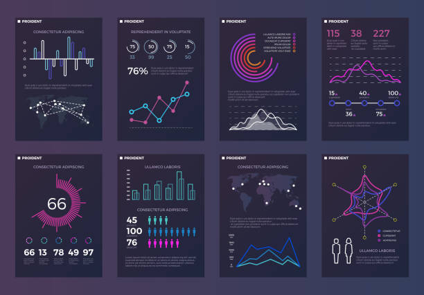 infographics, brochures vector templates for business reports with line charts - infographics stock illustrations, clip art, cartoons, & icons