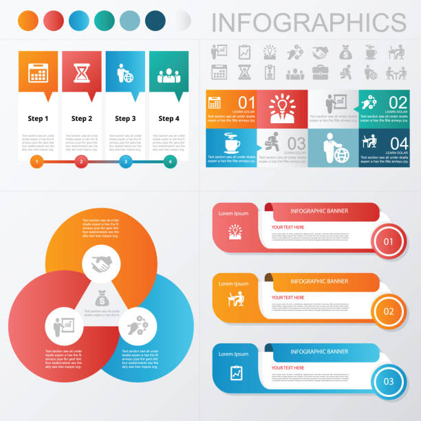 infographics business and banner icons - infographics stock illustrations, clip art, cartoons, & icons