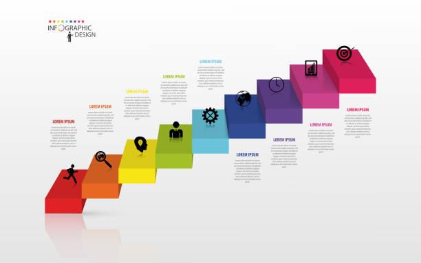 インフォグラフィックビジネス階段のコンセプト、ベクトルイラストレーション - 人の年齢点のイラスト素材/クリップアート素材/マンガ素材/アイコン素材