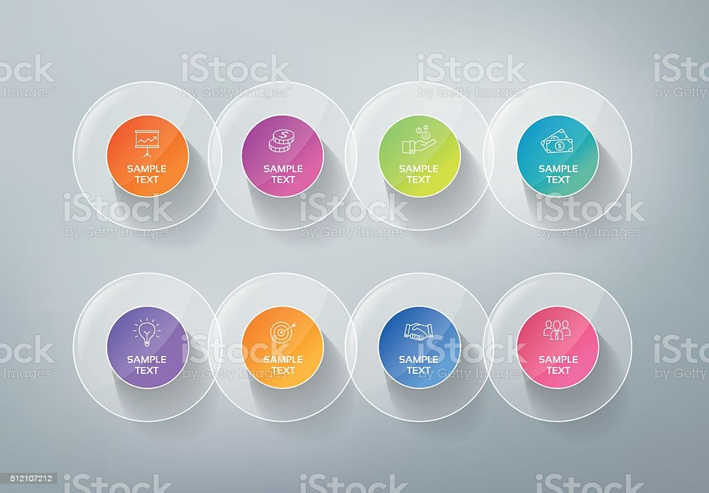 Infographics Buttons - Timeline vector art illustration