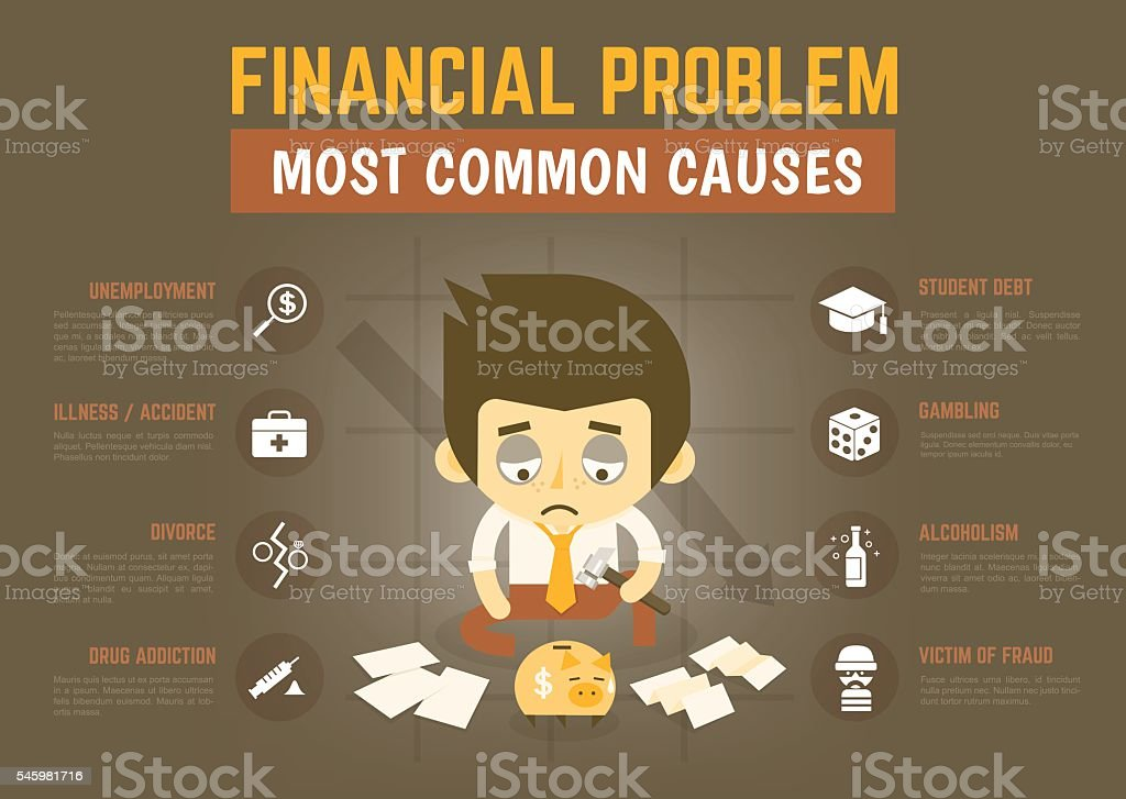 infographics cartoon character about most common financial probl vector art illustration