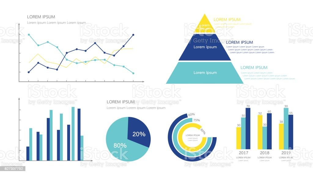 Infographics chart element for business  presentation in many shape such as line and point, pyramid, bar, pie and circle percentage. Minimal flat design vector illustration. Yellow and blue color. vector art illustration