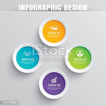 Infographics circle paper with 4 data template. Vector illustration abstract background. Can be used for workflow layout, business step, brochure, flyers, banner, web design.