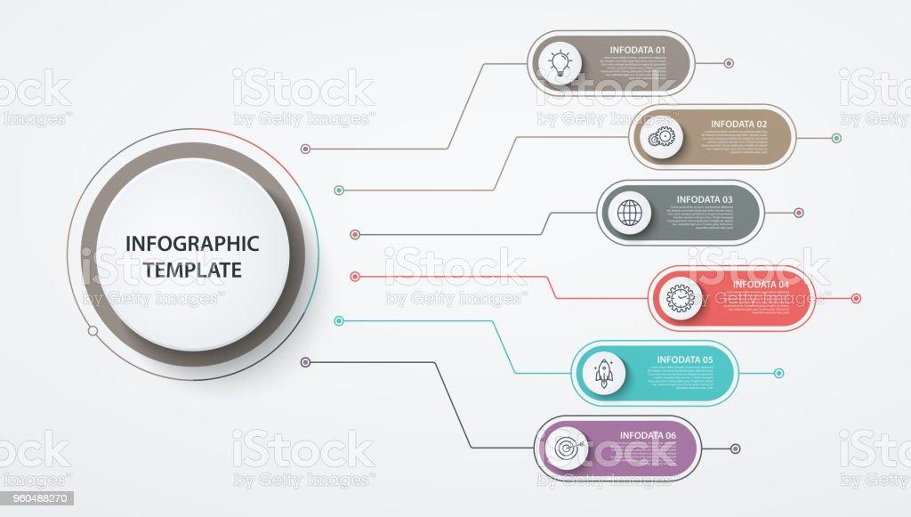 Infografiken Im Kreis 6 Optionen Oder Schritte Geschäftskonzept ...
