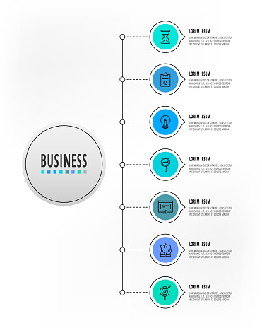 Infographics circles with 7 steps, icons. Flatline vector template. Can be used for seven business, web, workflow layout, flowchart, info graph, chart, processes diagram. Data visualization.