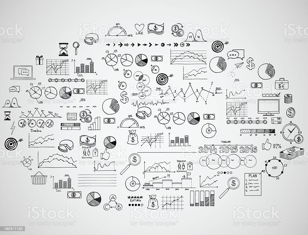 infographics collection hand drawn doodle sketch business ecomomic finance elements vector art illustration