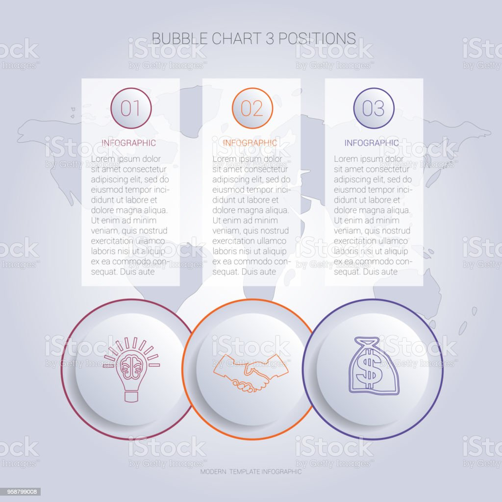 Infographics color bubble chart template for 3 positions to use for flowchart, workflow, banner, web, report, presentation