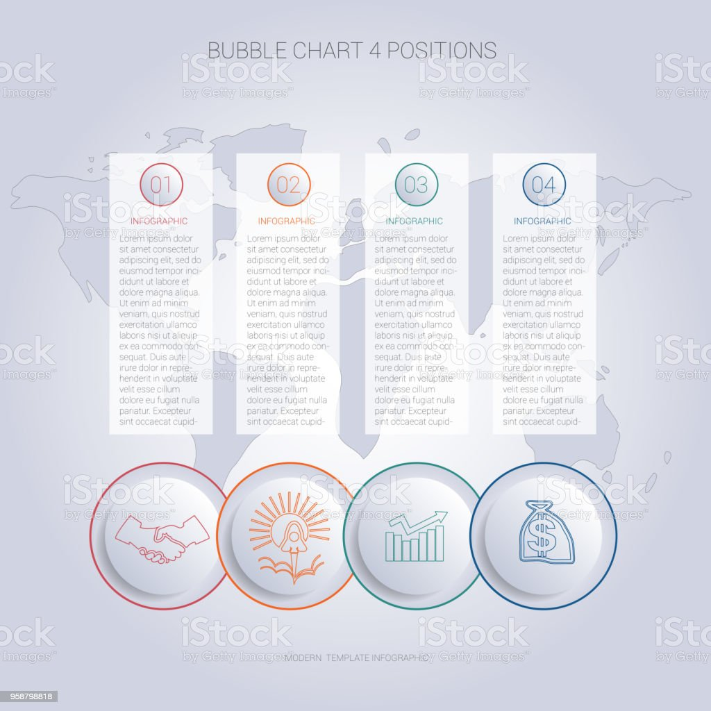 Infographics color bubble chart template for 4 positions to use for flowchart, workflow, banner, web, report, presentation
