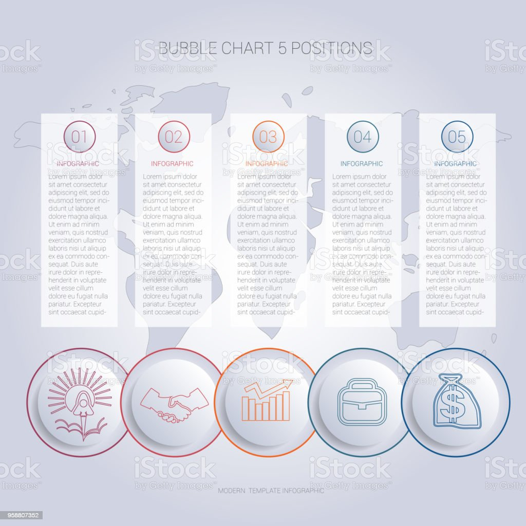 Infographics color bubble chart template for 5 positions to use for flowchart, workflow, banner, web, report, presentation