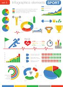 Sport Fitness Infographics elements with icons. For business and finance reports, statistics, diagram graph.