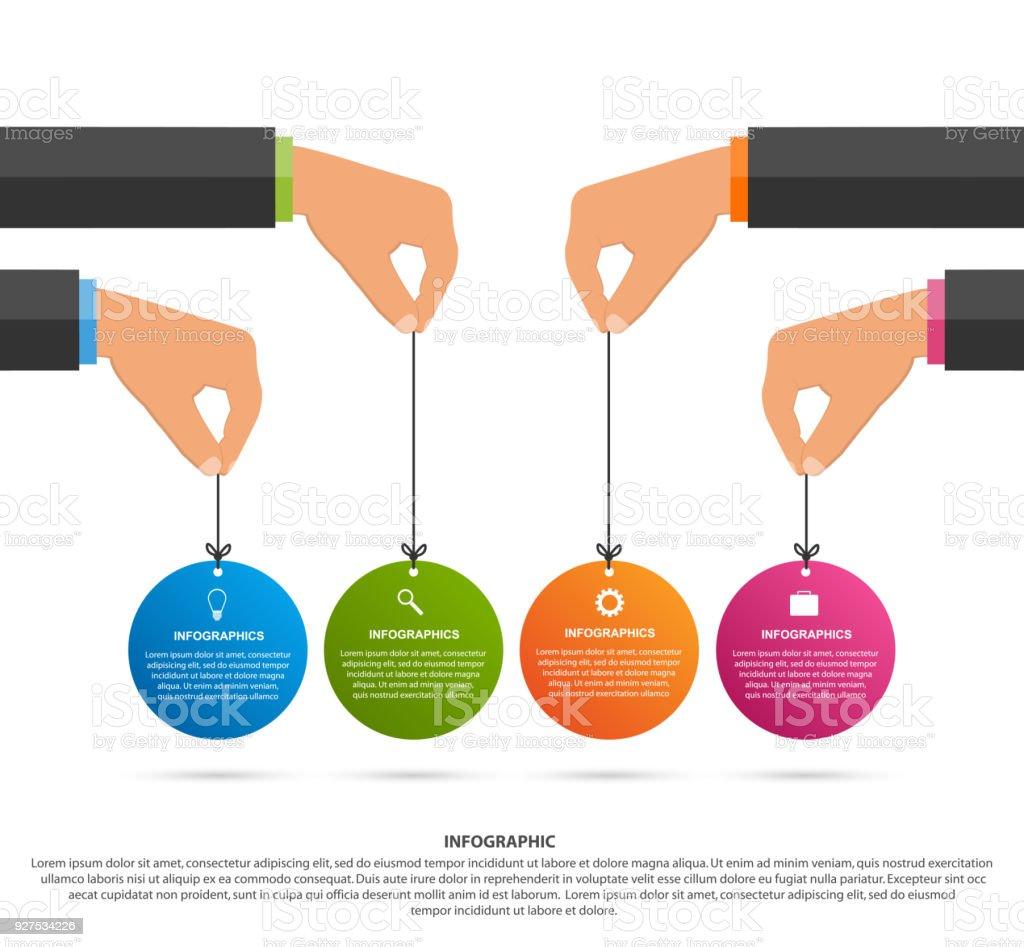 インフォグラフィックのデザインテンプレート人間の手を保持しサークル