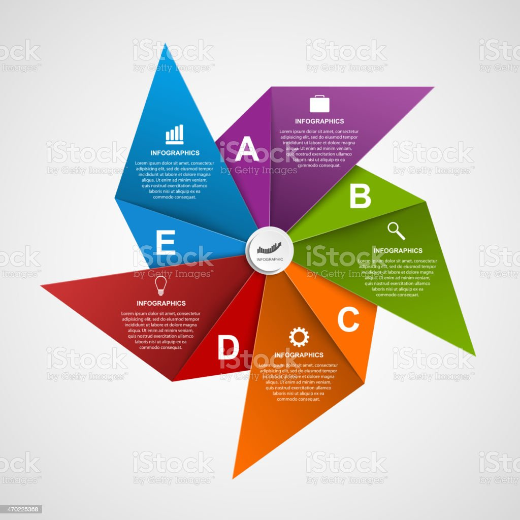 Infographics design template in the shape of air pinwheel. vector art illustration
