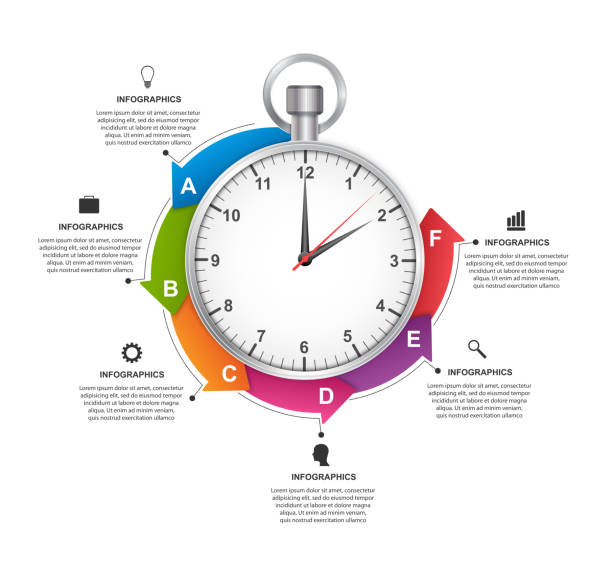 Infographics design template. Stopwatch with a circular arrow and the clock inside. Vector illustration. vector art illustration