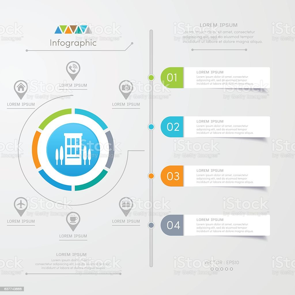 Infographics design template with icons, process diagram, vector vector art illustration