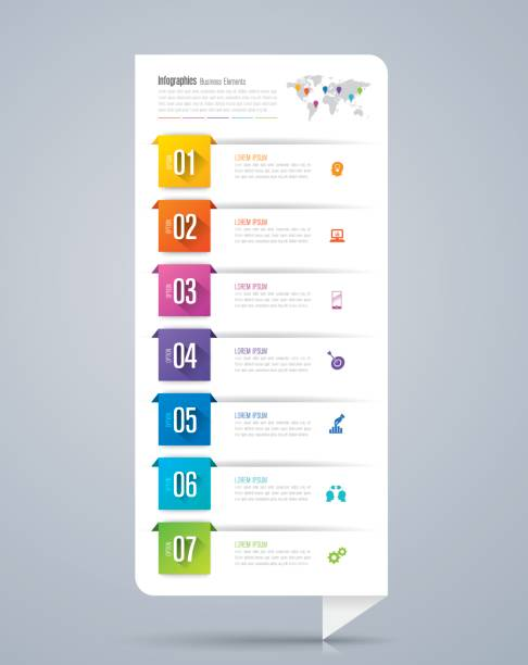 infographics design vector and business icons. - vertical stock illustrations, clip art, cartoons, & icons