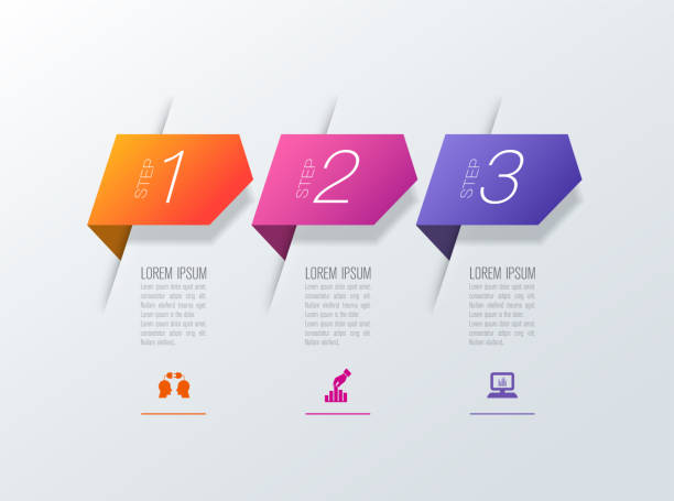Infographics design vector and business icons with 3 options. Vector illustration was made in eps 10 with gradients and transparency. Can be used for workflow layout, diagram, number options, web design. topics stock illustrations