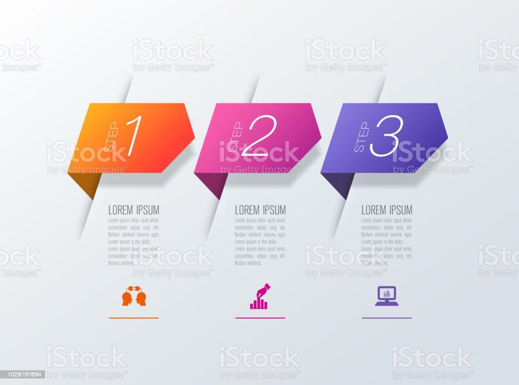 Infografía diseño iconos vector y negocio con 3 opciones. - ilustración de arte vectorial