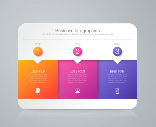 infografiken vektor und business designikonen mit 3 optionen. - drei stock-grafiken, -clipart, -cartoons und -symbole