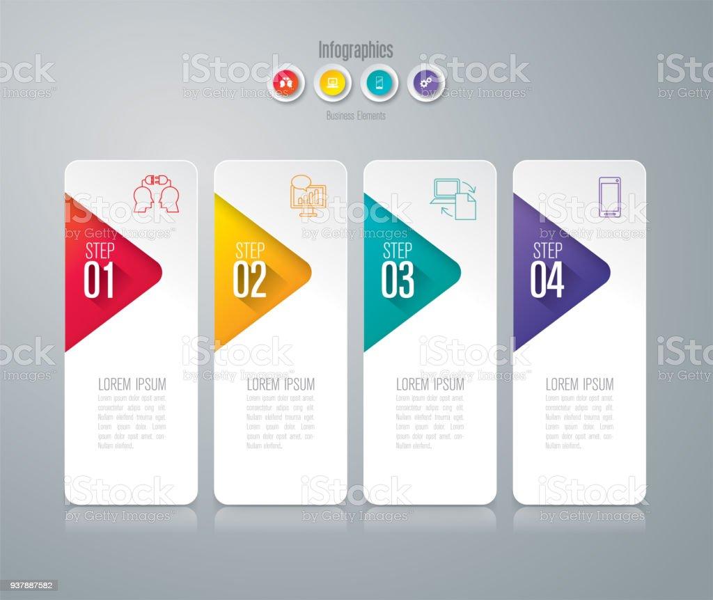 Infographics design vector and business icons with 4 options. – artystyczna grafika wektorowa