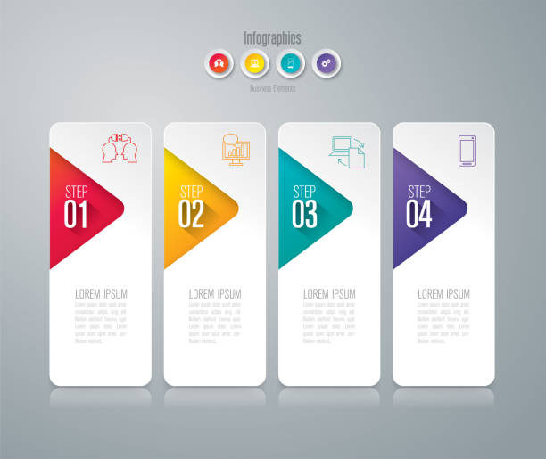 Infographics design vector and business icons with 4 options. Vector illustration was made in eps 10 with gradients and transparency. Can be used for workflow layout, diagram, number options, web design. number 4 stock illustrations