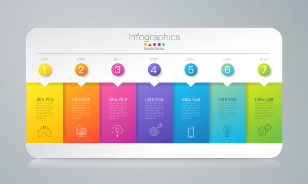 Bекторная иллюстрация Infographics design vector and business icons with 7 options.