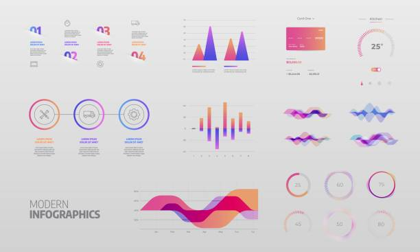 infographics design vector and marketing icons can be used for workflow layout - graficzny interfejs użytkownika stock illustrations
