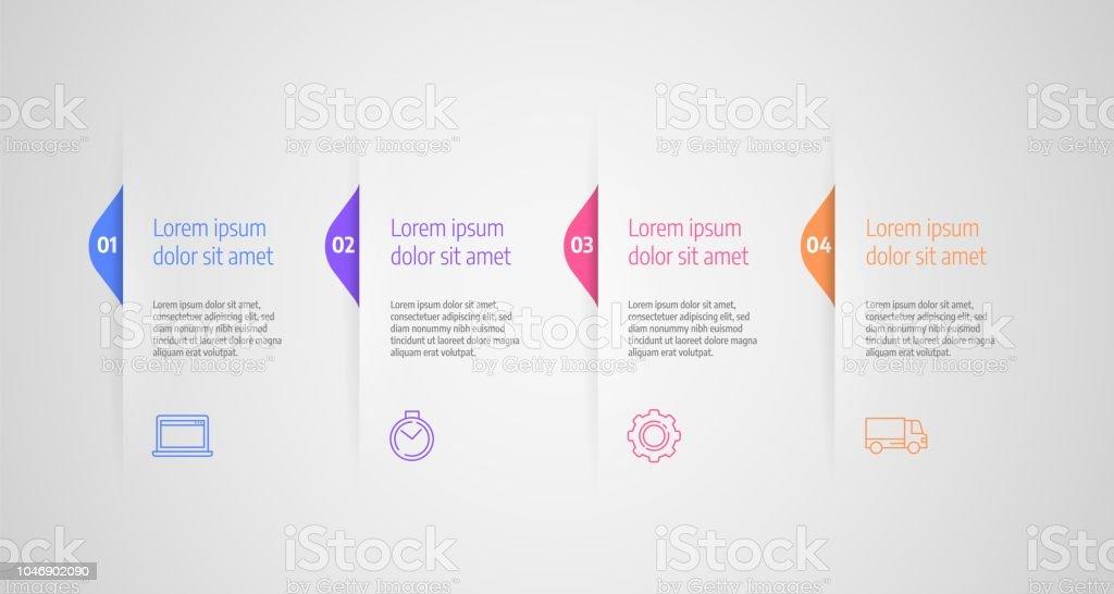 Infográficos projeto vector. Conceito de negócio com etapas ou processos. - Vetor de Abstrato royalty-free