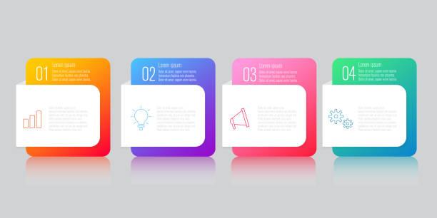 illustrazioni stock, clip art, cartoni animati e icone di tendenza di infographics design with speech bubble flat vector - infografiche