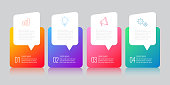 infographics design with speech bubble marketing icons can be used for workflow layout diagram annual