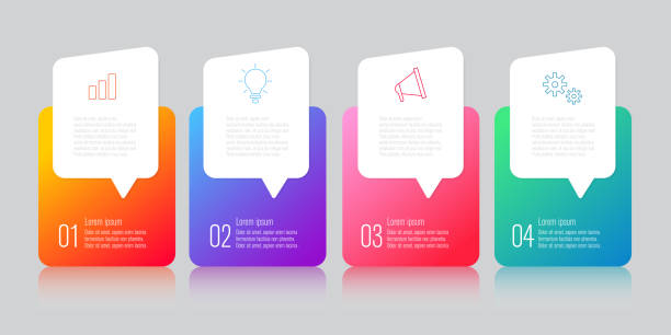 infographics design with speech bubble - infographic templates stock illustrations, clip art, cartoons, & icons