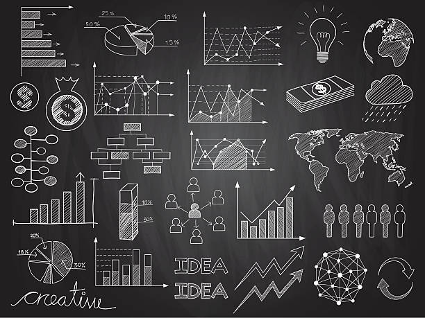 infografiken und kritzeleien - kreide stock-grafiken, -clipart, -cartoons und -symbole