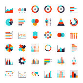 Infographics elements. Data analysis chart, modern presentation for business. Analytics workflow visualization, timeline and flowchart vector graphical infograph set