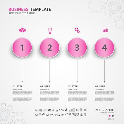 Infographics elements diagram with 4 steps, options, Vector illustration, circle icon, presentation, advertisment, Process chart, business flyer, banner design, web design, timeline, slide
