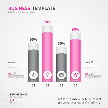 Infographics elements diagram with 4 steps, options, Vector illustration, cylinder 3d icon, presentation, advertisment, Process chart, business flyer, banner design, web design, timeline, slide