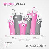 Infographics elements diagram with 6 steps, options, Vector illustration, Water glass icon, presentation,  advertisment, Process chart, business flyer, banner design, web design,timeline, slide