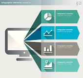 infographics elements – evolution series – icons and labels - Illustration