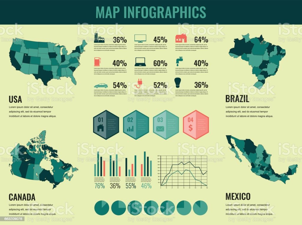 Infographics elements set with collection maps of america usa infographics elements set with collection maps of america usa canada brazil mexico gumiabroncs Image collections