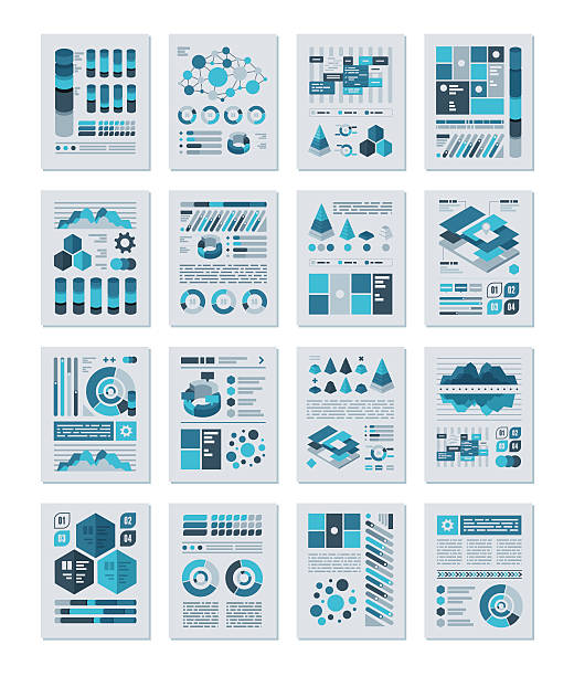 infographics flat design set - infographics stock illustrations, clip art, cartoons, & icons