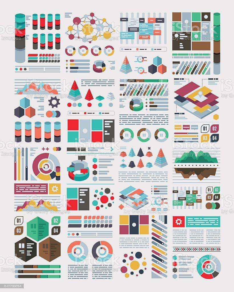 Infographics Flat Design Set vector art illustration
