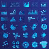 Infographics flat neon light illustrations set. Graph arrow growth color icon. Data analysis, statistics analyzing. Charts, diagrams set vector illustration