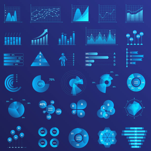 Infographics flat neon light illustrations set. Graph arrow growth color icon. Data analysis, statistics analyzing. Charts, diagrams set vector illustration. vector art illustration