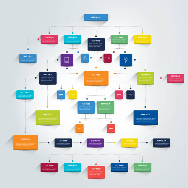 Infographics flowchart. Colored shadows scheme. Infographics flowchart. Colored shadows scheme. organization chart stock illustrations