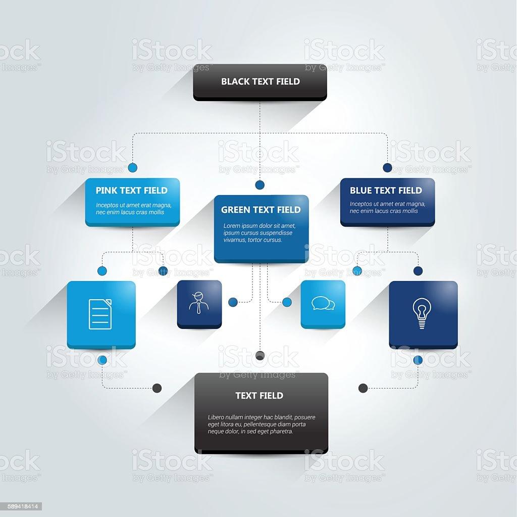 Infografías Diagrama de flujo. Sombras esquema de color. - ilustración de arte vectorial