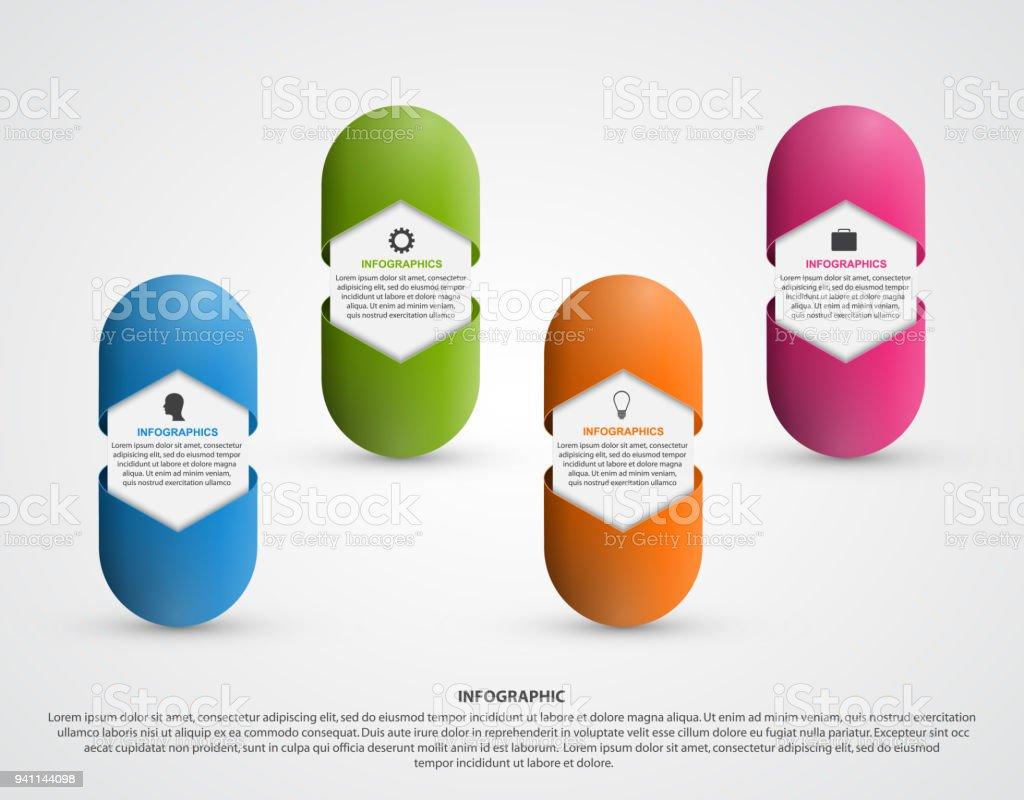 Infographics for medicine. Capsule tablets. For advertising, presentations or an information banner vector art illustration