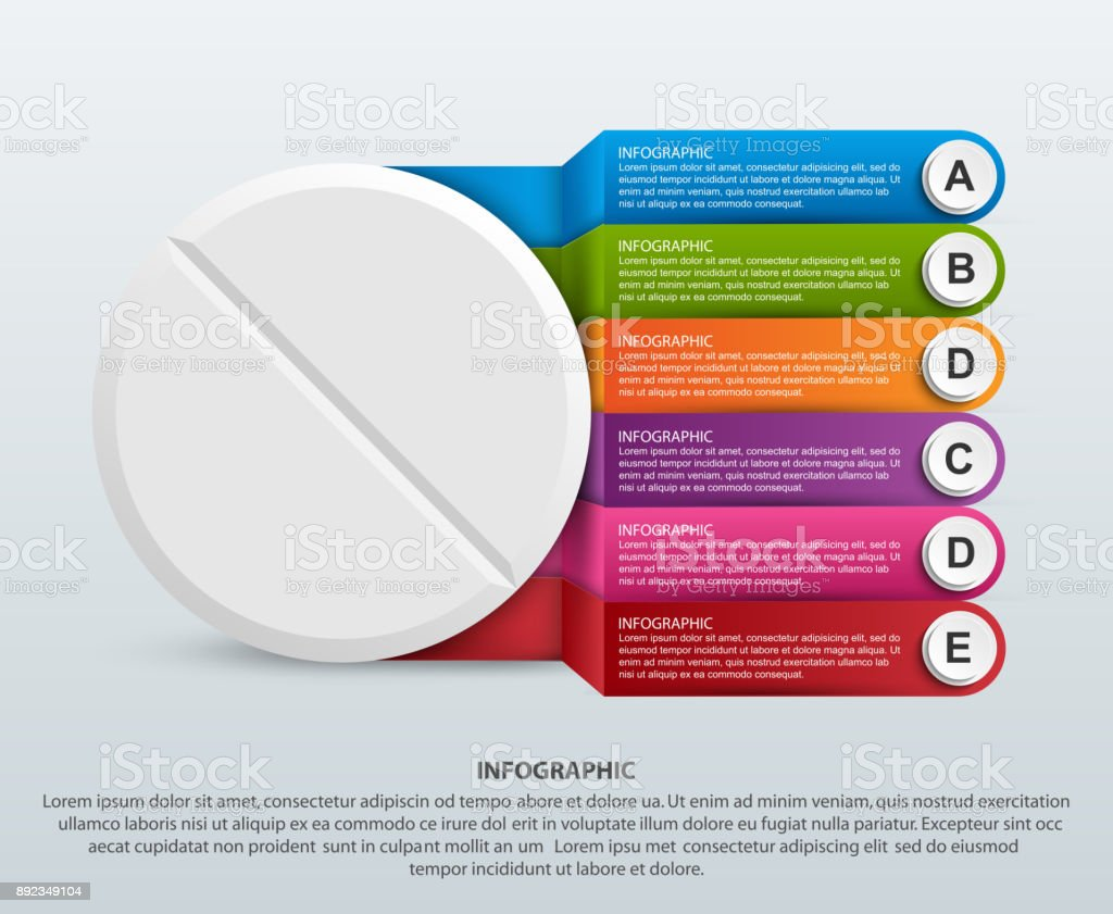 Infographics for medicine. Pill with colored ribbons. For advertising, presentations or an information banner vector art illustration