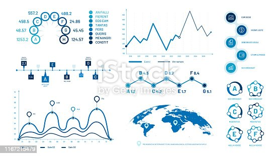 Infographics graph charts. Histogram data graphs, bubbles graphic timeline chart and diagram. Statistic charts, progress data diagram presentations. Isolated vector illustration signs set