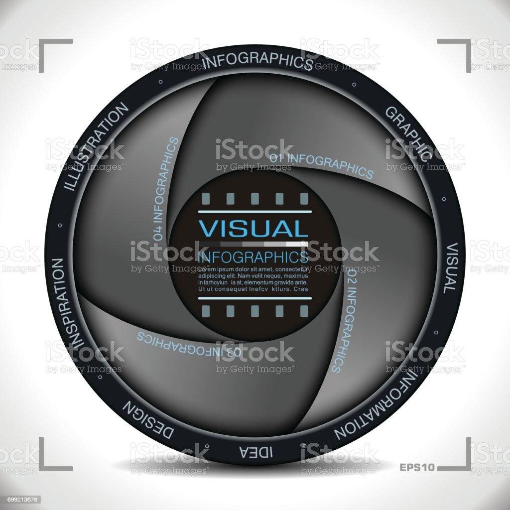 Infographie en caméra ouverture Style - Illustration vectorielle
