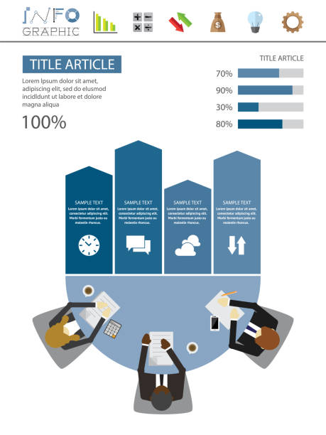 illustrazioni stock, clip art, cartoni animati e icone di tendenza di infographics meeting & business - business meeting, table view from above